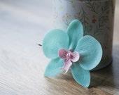 Tropical blue hair clip - tropical flower hair bobby pin - tropical wedding  - orchid clip, orchid wedding