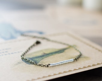 Matte white thin bracelet - stacking bracelet - beaded bracelet - bar bracelet - delicate jewelry - everyday bracelet - minimalist jewelry
