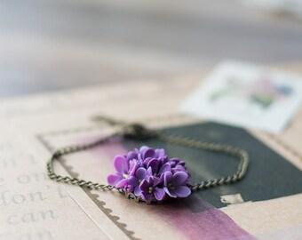 Lilac flower bracelet, lilac bracelet - floral bracelet - botanical bracelet - floral jewelry - lilac wedding - blossom jewelry
