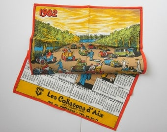 Vintage french towel, Calendar 1982, Retro kitchen, Antique, Rustic, Home decor, France, Torchon, Calendrier, NEW