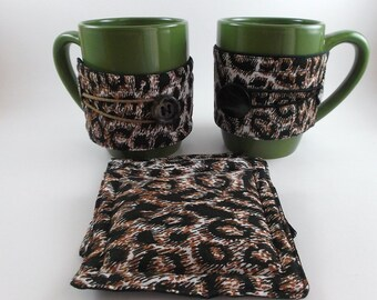 Mug Cozy and Coaster Brown or Black Button Animal Print Cozy and Coaster Cup Cozy and Coaster Gift Exchange Christmas Gift Stocking Stuffers