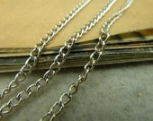 10 Meters white gold plated metal oval link chain extended chain 2.5x3.5mm- WE1033