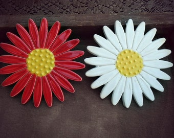 Ceramic Daisy Wall Decoration Red Flower Pottery Ornament Yellow Dots - Set of 2