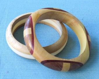 Set of 2 | Vintage Wooden Bangle Bracelets | 1 Laminated Wood and Lucite | 1 inlayed Wood