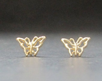 TINY 14k gold butterfly SINGLE or PAIR stud earrings recycled solid gold made in usa