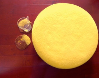 Citron Macaron Wool Felted Pillow, Wool Round Cushion/ Ottoman, Slow design. momoish made.