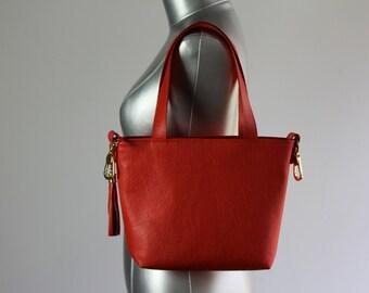 Red Tote Leather Bag - Red Shoulder Leather Handbag
