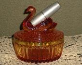 Vintage Jeanette Glass Amberina Swan Powder Box With Lipstick Cradle