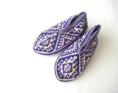 Purple and White Turkish traditional Handmade Knitted Socks Slippers, ladies booties, knitted home shoes, womens slippers, house shoes