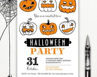 Printable Halloween Invitation Templates, halloween party invitations, adult halloween invitation, halloween invite, Halloween Party Invites