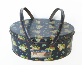 Blue Floral Storage Tin, Dutch Maid English Style Biscuits Tin, Vintage Metal Sewing Tin with Handles,