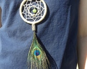 Dreamcatcher Necklace With Peacock Feather and Brown Leather Cord