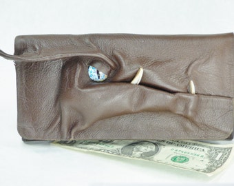 Dragon Brown Leather Clutch Wallet Woman's Zippered Pocket Credit Card Holder Pagan Goth LARP RPG