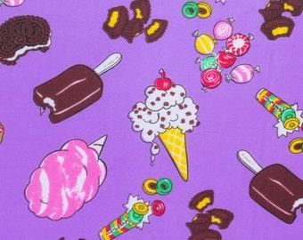 Poly Cotton Print Sugar Treats 60 Inch Purple Fabric by the Yard, 1 yard
