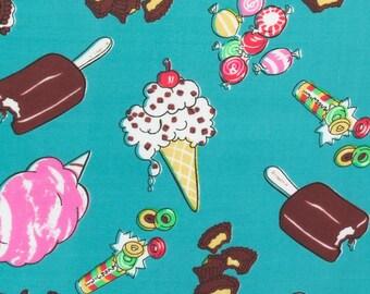 Poly Cotton Print Sugar Treats 60 Inch Seafoam Green Fabric by the Yard, 1 yard