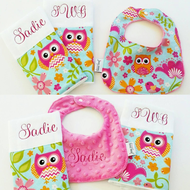 Baby Gift Monogram : Baby shower gift set monogrammed burp cloth