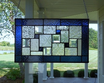 Stained Glass Panel Navy Blue
