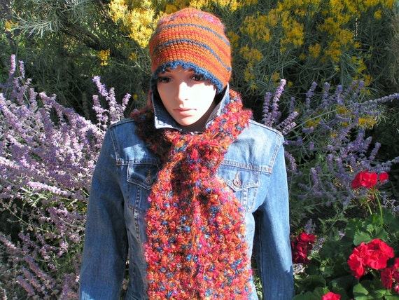 Beautiful Crochet Hat & Scarf Set - hand dyed 100% wool and boucle mohair
