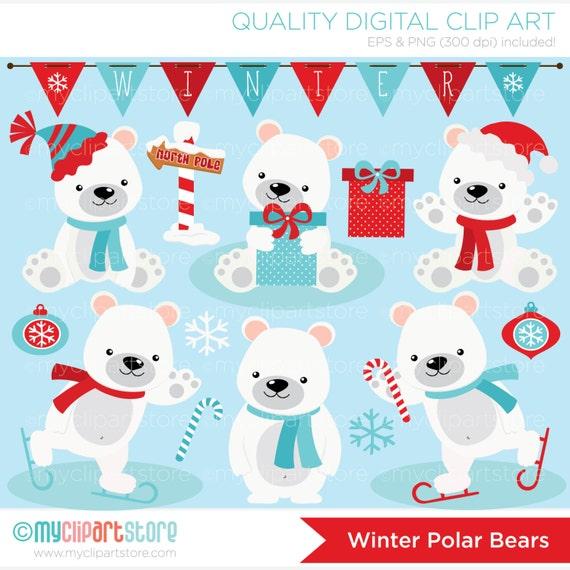 clipart christmas winter polar bears digital clip art. Black Bedroom Furniture Sets. Home Design Ideas