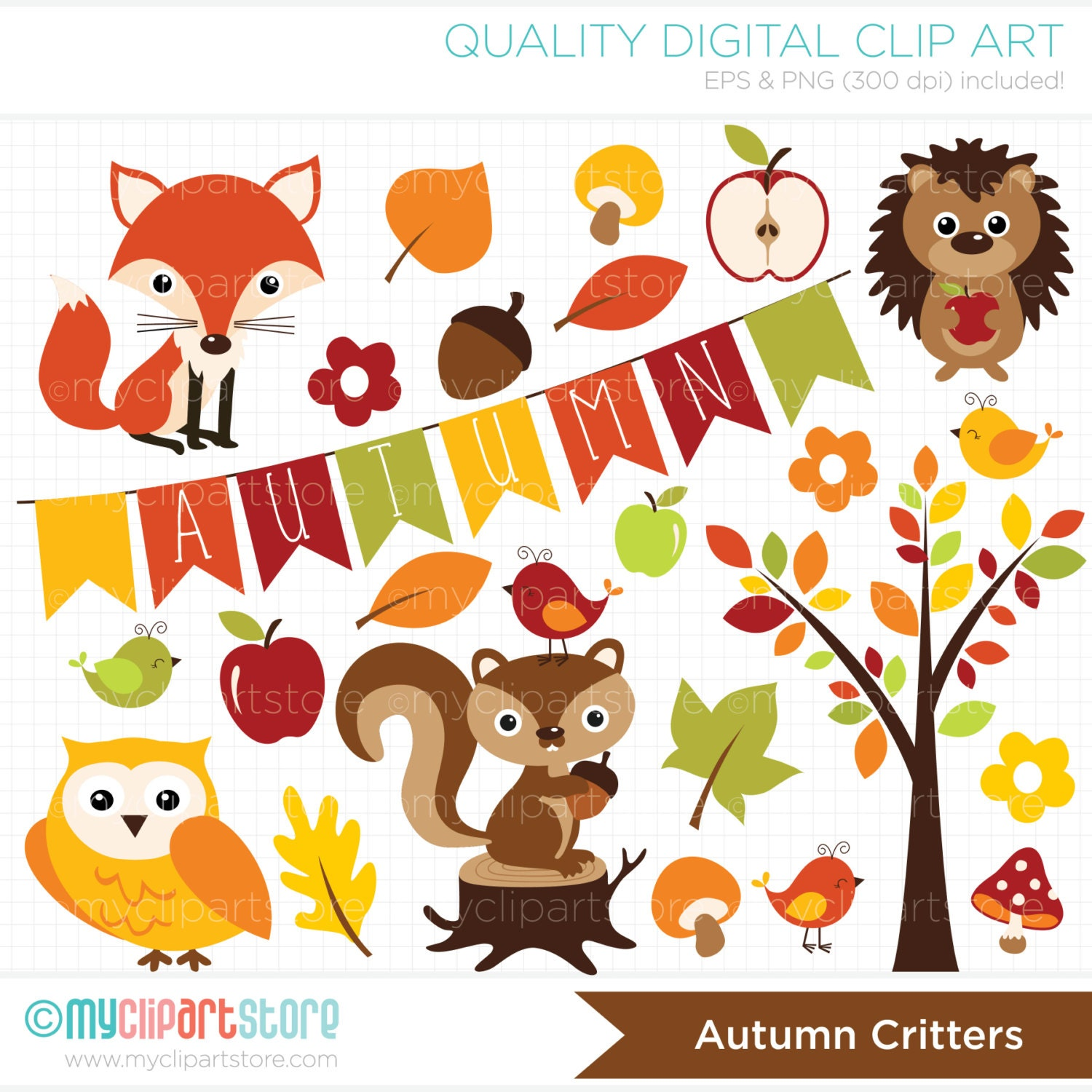Clipart Fall Animals / Autumn Critters / owl fox hedgehog