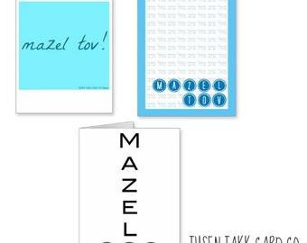 Mazel Tov Cards 3 designs, Mazel Tov Card, Bar Mitzvah Cards, Bat Mitzvah Cards, Jewish Cards, Good Luck Card, Congrats Card, Birthday Cards