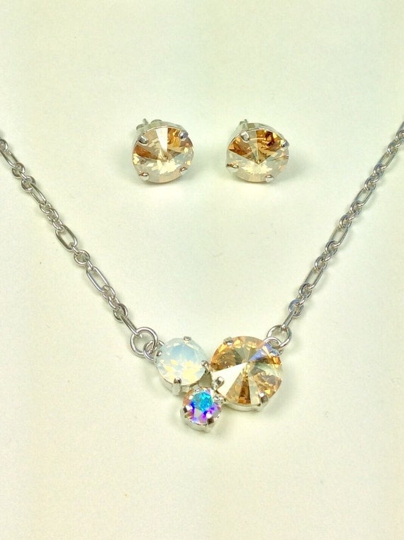 Swarovski Crystal 12MM/8.5mm/6mm Necklace - Golden Shadow, White Opal, and AB  - Petite & Feminine Cluster Pendant  - FREE SHIPPING