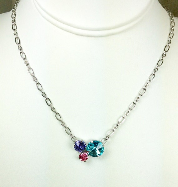Swarovski Crystal Necklace -  Designer Inspired  -  12 MM, 8.5mm, & 6mm - Petite and Feminine Cluster Pendant - Perfect Gift-  FREE SHIPPING