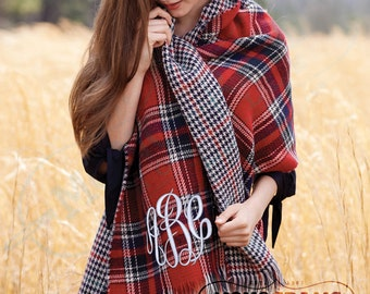 MONOGRAMMED Double-sided RED Tartan Plaid Houndstooth Blanket Scarf Wrap (Font Shown: Master Circle in White)