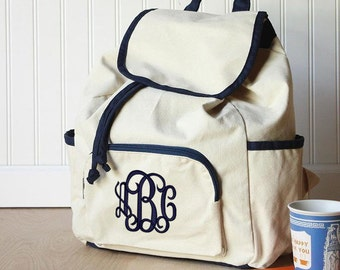 Large Canvas Backpack with NAVY Trim  Font shown INTERLOCKING in Navy