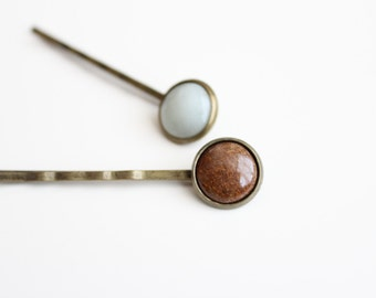 Set of 1 Soapstone and 1 Pyrolite Bobby Pins (Pale Green and Brown)   Hand-sculpted Hairpins