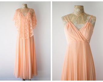 1970's Peach Maxi Gown with Lace Shawl - Vintage Goddess Empire Maxi Dress - Pastel Peach Summer Dress with Lace Drape - Size Small