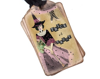 Halloween Witch Tags, Treat Bag Tags, Vintage Halloween Tags, Trick or Treat, Pretty Witch, Halloween Labels, Witch Gift Tags, Set of 10