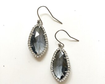 Pave Crystal Glass Drop Earrings