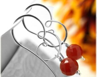 Carnelian hoops - Sterling silver carnelian hoop - Gemstone hoop earrings