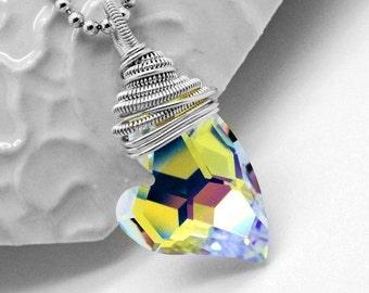 Swarovski heart pendant - Wrapped pendant - Sterling silver pendant - Swarovski pendant