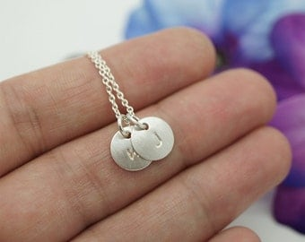 Sterling silver initial necklace - charm necklace - Initial pendant - Silver initial necklace - Hand stamped silver initial