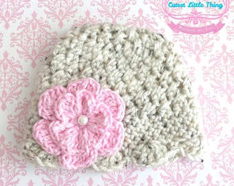 Baby Girl Hat, Crochet Baby Girl Hat with Pink Flower, Fall Hat, Girl hats, Oatmeal hat, Newborn Hat, girl hospital hat.
