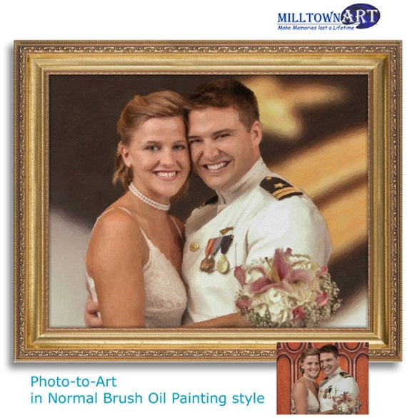 Oil Painting style Portrait from your photo - Print on canvas or a High Res File - WEDDING, FAMILY PORTRAIT, Pet portrait etc - Free proof!