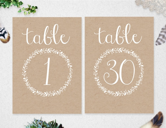 Table Numbers 1-30 INSTANT DOWNLOAD // Printable