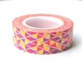 Triangle Washi Tape - Purple Red Yellow Triangle Washi Tape - Geometric Washi Tape - Triangle Masking Tape - 10 meters