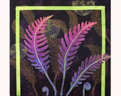 Quilted Wall Hanging, Fiber Art, Ferns in Moonlight, Office or Home Decor