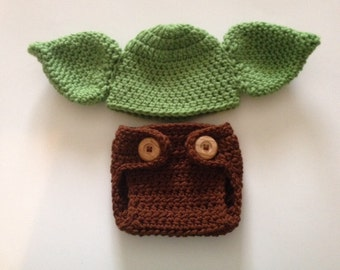 Crochet Baby Yoda Hat and Diaper Cover ,Star Wars Baby Clothes  ,Crochet Baby Set,Halloween Costume , Newborn Photo Prop ,Made To Order
