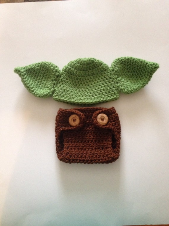Crochet Yoda Hat : Crochet Baby Yoda Hat and Diaper Cover ,Star Wars Baby Clothes ...