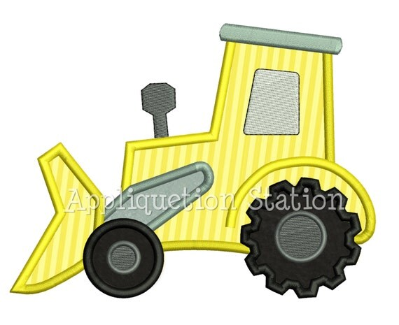 Tractor Bulldozer Boy Applique Machine Embroidery Design INSTANT DOWNLOAD