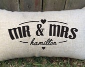 "Beautiful newly wed couples pillow, perfect for 2nd wedding anniversary ""cotton"", valentine's day, proposal gift & morning of wedding gift"