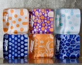 Square Glass Super Strong Magnets (1-inch) with Colorful Designs and Patterns - Orange Blue Purple