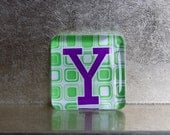 1.5-inch Square Glass Super Strong Magnet with Custom Y Initial Monogram Green Purple