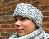KNITTING PATTERN Diagonal Basket Weave Headband Ear Warmer Short Cowl Boot Toppers Ideal for Beginners Accessory Set