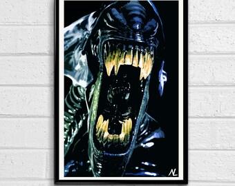 Alien Xenomorph Illustration #2 Horror Sci-fi Movie Pop art Film Home Decor Geeky Poster Nerdy Print Canvas