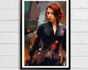 "Black Widow Marvel Avengers Illustration, Film, Movie, Pop Art, Home Decor, Superhero Poster, Comic Book Print Size 11"" x 17"""